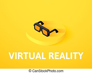 Virtual reality isometric icon, isolated on color background...