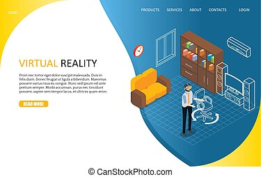 Virtual reality landing page website vector template -...
