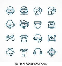 Virtual reality linear blue icon set