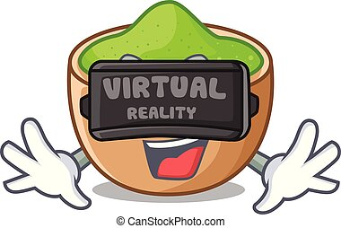 Virtual reality matcha powder above glass cartoon table