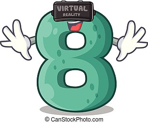 Virtual reality number eight made with cartoon shaped