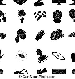 Virtual reality pattern icons in black style. Big collection of virtual reality vector symbol stock illustration