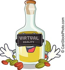 Virtual reality Pistachio oil in a character bottle