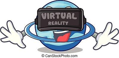 Virtual reality planet uranus in the cartoon form vector...