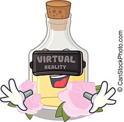 Virtual reality rose oil in the cartoon shape