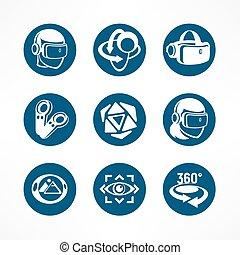 Virtual reality round icon set
