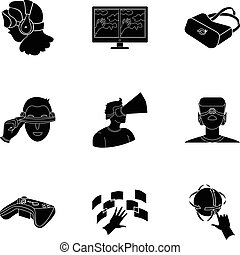 Virtual reality set icons in black style. Big collection of virtual reality vector symbol stock illustration
