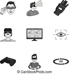 Virtual reality set icons in monochrome style. Big collection of virtual reality vector symbol stock illustration