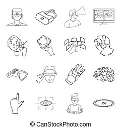 Virtual reality set icons in outline style. Big collection of virtual reality vector symbol stock illustration