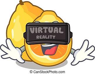 Virtual reality ugli fruit in the cartoon fridge vector...