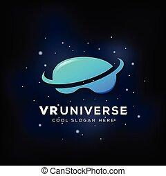 Virtual Reality Universe Abstract Vector Icon, Sign, or Logo...