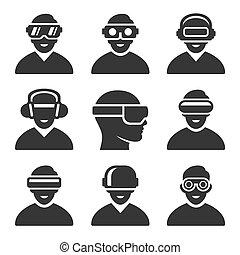 Virtual Reality VR Headset Icons Set. Vector Illustration