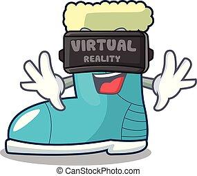 Virtual reality winter boot on the character rak vector ...