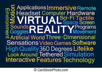 Virtual Reality Word Cloud on Blue Background