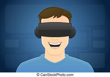 Virtual Reality - Young male with virtual reality glasses