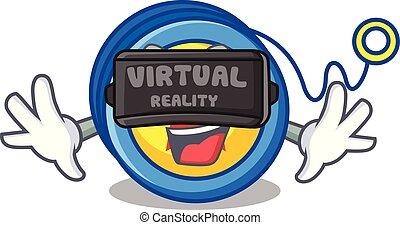 Virtual reality yoyo mascot cartoon style vector...