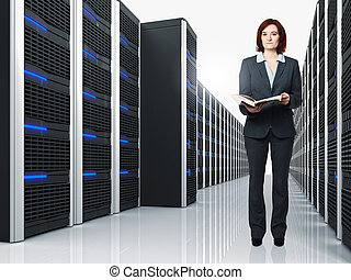 virtual server 3d and woman - 3d image of datacenter with ...