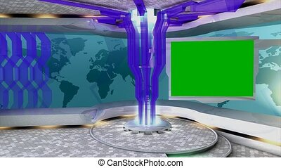 Virtual set 4 - Virtual set/studio. With chroma-key,...