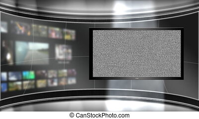 Virtual Studio Backdrop with multiple monitors playing