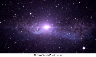 virtual space animation over violet background - space,...