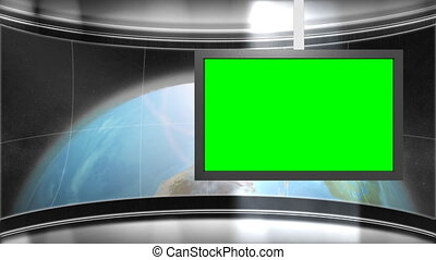 background of interior of studio or spaceship with earth revolving slowly in the background