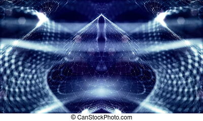 Virtual space with depth of field. Looped holographic blue...