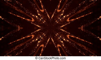Virtual space with depth of field. Looped holographic gold...