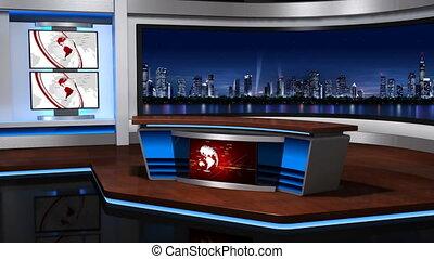 Virtual studio 056 - The real TV news studio, Loopable,