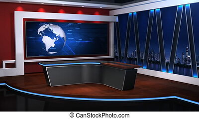 News studio; The background of the virtual studio;