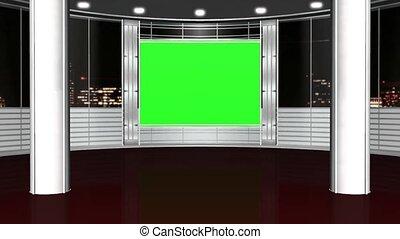 virtual studio background on green screen