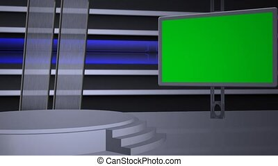 virtual studio background with green screen