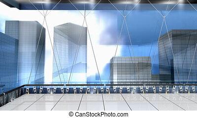 """Virtual studio broadcasting set, cyberspace, production, ..."
