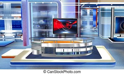 Virtual studio Newsroom C3 - Virtual set studio for green...