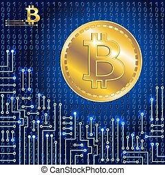 Virtual symbol of the coin bitcoin on binary code background...