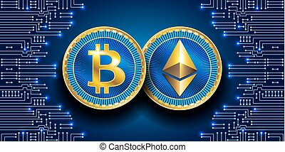 Virtual symbols of the coin bitcoin and ethereum. Crypto...
