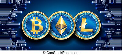 Virtual symbols of the coin bitcoin, litecoin and ethereum on electronic circuit background. Crypto.