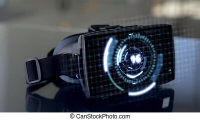 vr headset with coding and counting numerals - virtual,...