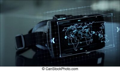 vr headset with coding and world map on screen - virtual,...