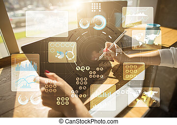 Virtual touch screen. Project management. Data analysis. Hitech technology solutions for business. Development. Icons and graphs background.