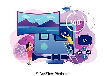 Virtual tour concept vector illustration.