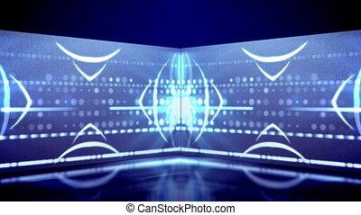 """Virtual triangular neon tunnel moving"""