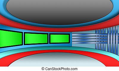 Virtual TV news studio set