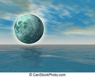 virtual, verde, luna, encima, el, océano, -, digital,...