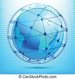 Virtual World - illustration of globe showing networking on...