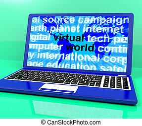 Virtual World Words On Laptop Showing Global Internet