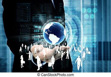 virtuale, affari, internet