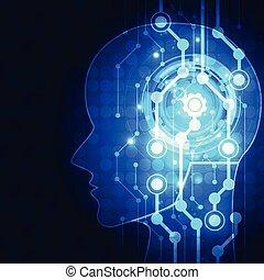 virtuale, ia, concept., intelligence., artificiale, fondo., vettore, illustrazione, future., tecnologia digitale