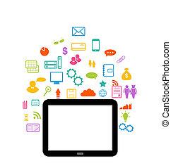virtuale, mondo, con, tavoletta, computer, set, infographic,...