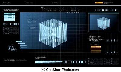 virtuale, schermo, con, cubo, 3d, interpretazione, sopra,...
