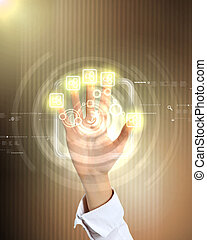 virtuale, tecnologia, in, affari